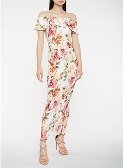 Floral Off the Shoulder Maxi Dress - 3410072242821