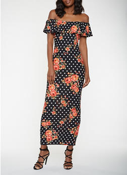 Off the Shoulder Floral Polka Dot Maxi Dress - 3410072242822