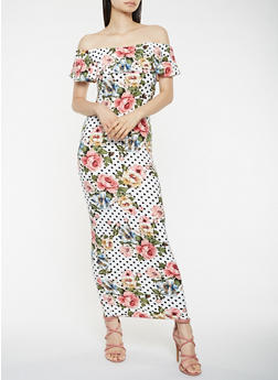 Printed Off the Shoulder Maxi Dress - 3410072242823