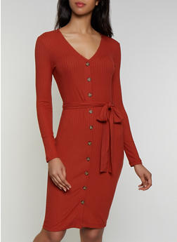 Belted Rib Knit Button Front Dress - 3410072243193