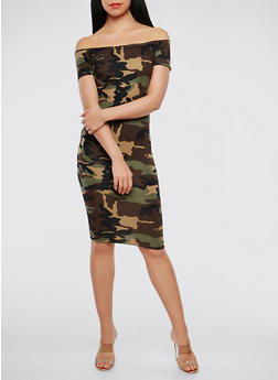 Camo Off the Shoulder Dress - 3410072243324