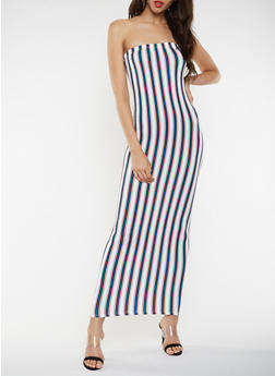 Striped Maxi Tube Dress - 3410072243664