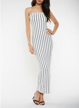 Striped Maxi Tube Dress - 3410072244664