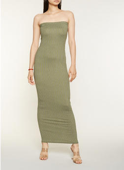Striped Tube Maxi Dress - 3410072244924
