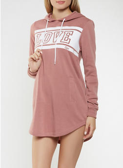 Love Graphic Hooded Sweatshirt Dress - MAUVE - 3410072290012