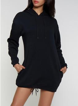 Hooded Fleece Sweatshirt Dress - 3410072290366