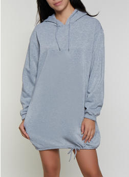 Hooded Fleece Sweatshirt Dress - 3410072290366