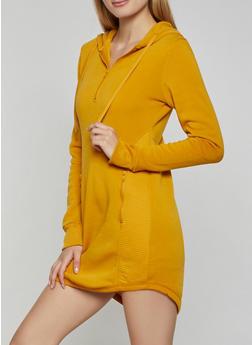 Split Zip Hood Sweatshirt Dress - 3410072292223