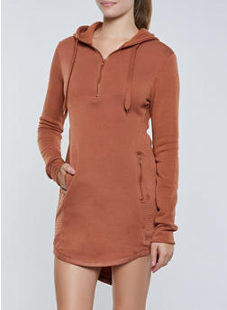 Split Zip Hood Sweatshirt Dress - 3410072292223