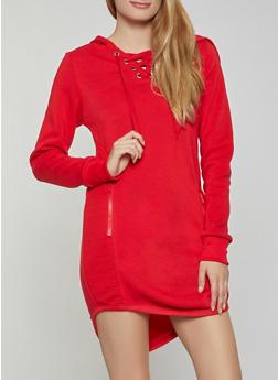 Split Zip Hood Lace Up Sweatshirt Dress - 3410072293388