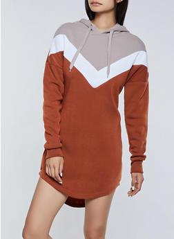 Chevron Detail Sweatshirt Dress - 3410072297551