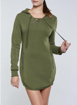 Zip Back Hooded Sweatshirt Dress - 3410072298833