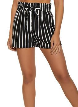 Striped Paper Bag Waist Lightweight Shorts - 3411054264462