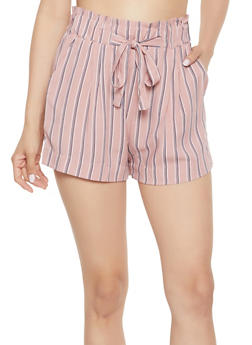 Tie Front Striped Shorts - 3411054264464