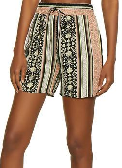Border Print Shorts - 3411056129484