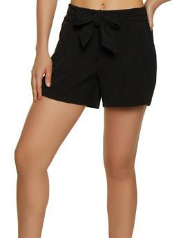 Elastic Waist Tie Front Dress Shorts - 3411056572123