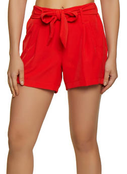Elastic Waist Tie Front Dress Shorts - 3411056572123