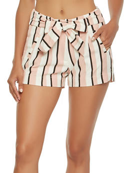 Striped Tie Waist Shorts - 3411056572260