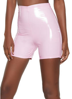 Faux Patent Leather Bike Shorts - 3411058754443