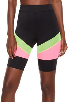 Color Block Mesh Insert Bike Shorts - 3411058754449