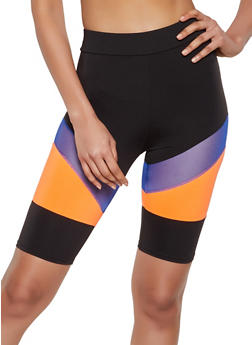 Color Block Mesh Insert Bike Shorts - 3411058754449