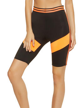 Color Block Mesh Trim Bike Shorts - 3411058755277