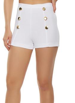 Zip Back Sailor Shorts - WHITE - 3411062701427