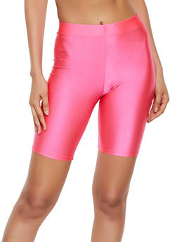 Solid Spandex Bike Shorts - NEON PINK - 3411063401081