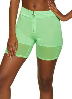 Zip Front Mesh Trim Bike Shorts - 3411066496047