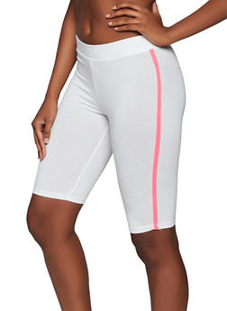 Contrast Stripe Bike Shorts - 3411066496334