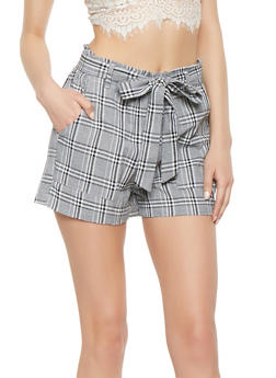 Belted Plaid Shorts - 3411068195012