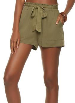 Paper Bag Tie Waist Shorts - 3411068196242