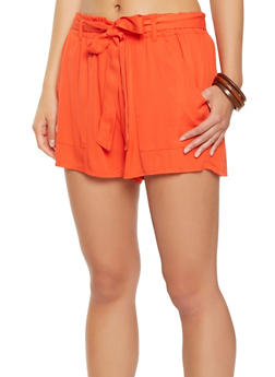 Paper Bag Tie Waist Shorts - 3411068196242