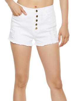 High Waisted Frayed Denim Shorts - 3411068196341
