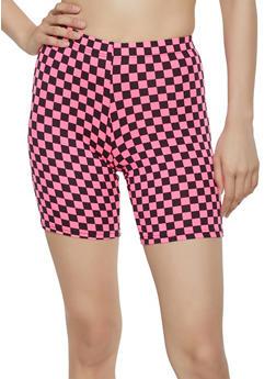 Neon Checkered Bike Shorts - 3411068511673