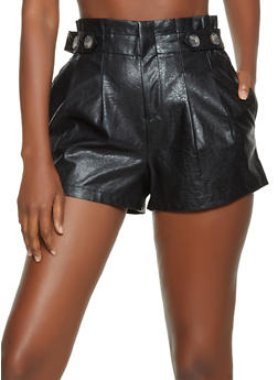 Button Tab Detail Faux Leather Shorts - 3411069390014