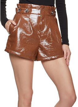 Crinkled Faux Patent Leather Shorts - 3411069390020