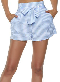 Striped Tie Front Shorts - 3411069390035