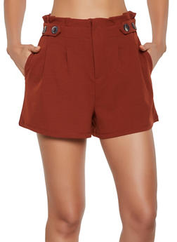 Paper Bag Waist Pleated Shorts - 3411069390082
