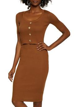 Ribbed Knit Crop Top and Pencil Skirt Set - 3412015991710