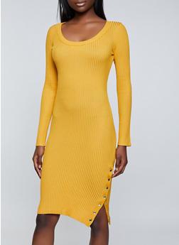 Snap Slit Sweater Dress - 3412015992110