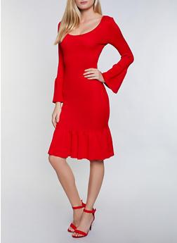 Rib Knit Bell Sleeve Sweater Dress - 3412015994221