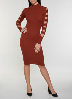 Caged Sleeve Sweater Dress - 3412015996101