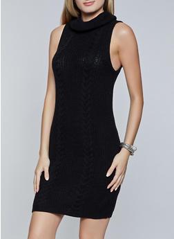 Sleeveless Turtleneck Sweater Dress - 3412015996330
