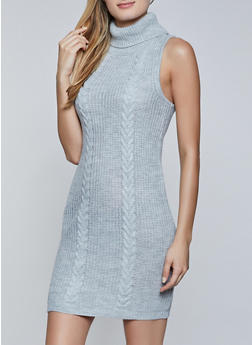 Sleeveless Turtleneck Sweater Dress - 3412015996330