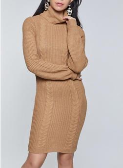 Long Sleeve Turtleneck Sweater Dress - 3412015996332