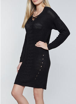 Lace Up Cable Knit Sweater Dress - 3412015996401