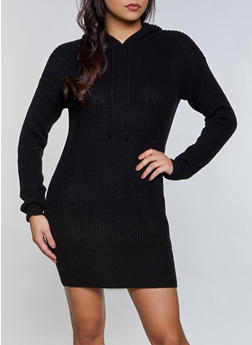 Hooded Sweater Dress - 3412015996640