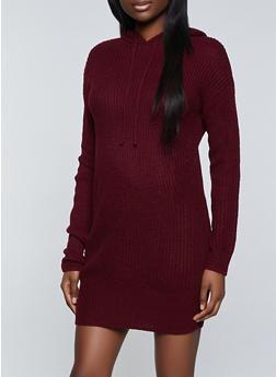 Hooded Sweater Dress - 3412015996640