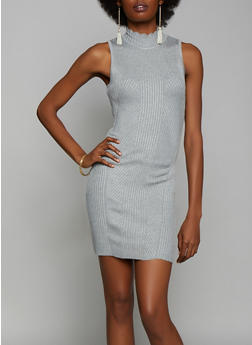 Sleeveless Mock Neck Sweater Dress - 3412015996731
